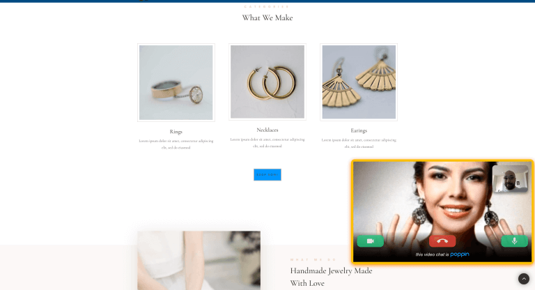 video call from a jewelry website